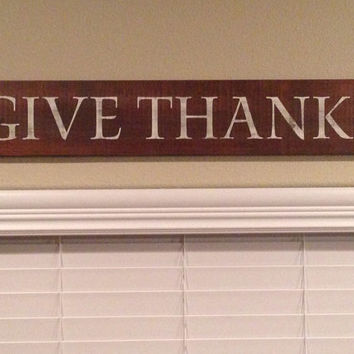 "Rustic ""Give Thanks"" Wood Sign"