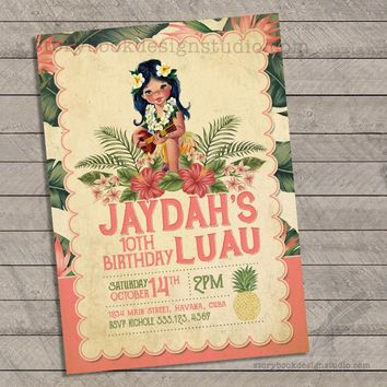 Vintage Luau Birthday Party Invitations