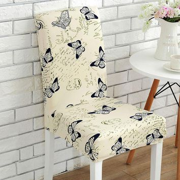 1 Pc Spandex Elastic Vintage Butterfly Beautiful Flowers Pattern Chair Covers Dustproof Stretch Modern Dining Party Seat Cover