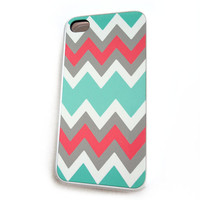 Mint Coral iPhone 4 iphone Chevron iPhone 4S Case Rubber Case