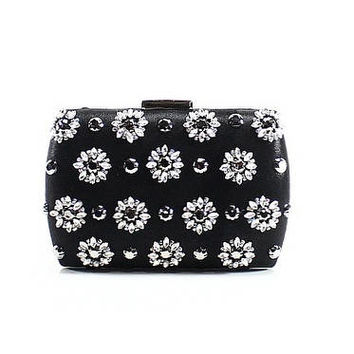 ADRIANNA PAPELL NEW Black Satin Small Vail Crystal Clutch Bag Purse | Overstock.com Shopping - The Best Deals on Clutches & Evening Bags