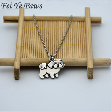 Drop Shipping Vintage Shih Tzu Necklaces & Pendants Boho anime Dog paw Necklace For Women Men Jewelry Best Friend Gifts chocker