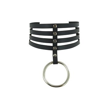 Gothic Emo Punk Rock O-Ring and studs Black Leather Choker Necklace