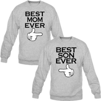 best mom ever best son ever crewneck sweatshirt