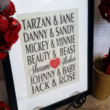 Custom Burlap sign Personalized FAMOUS COUPLES Print - Makes a Great Wedding, Anniversary, Valentines or CHRISTMAS Gift!