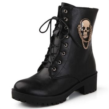 Ankle boots for women skull street lace up platform