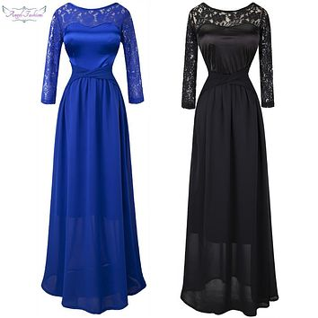 Angel fashions 3/4 Sleeves Pleat Criss-Cross Long Bridesmaid Dress robe de soiree 013