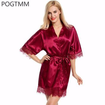 CREYIJ6 Sexy Wedding Dressing Gown Women Short Satin Bride Robe Lace Silk Kimono Bathrobe Summer Bridesmaid Nightwear Plus Size Peignoir