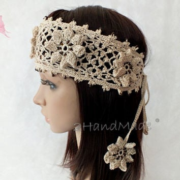 OOAK Irish Lace 3D Crochet Headband Dreadlock Head wrap Boho Wooden Beaded Women Ivory Wedding Bridal Cotton Hair Snood