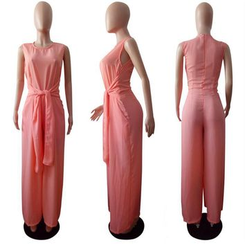 pink summer dresses Pure colored Korean linen trousers Sleeveless circular collarwomen clothing kanye west clothing S-XL