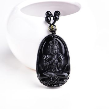 Buddha Obsidian Necklace