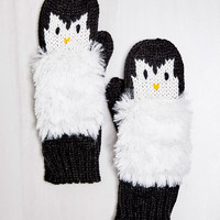 PENGUIN KNIT MITTENS