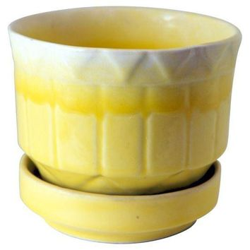 Pre-owned Vintage Yellow Ceramic Pot