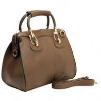 MG Collection Marissa Top Handle Doctor Shoulder Bag, Taupe, One Size