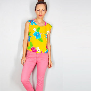 Vintage Summer Crop Top, Hawaiian Blouse, Birds of Paradise, Hibiscus, Nautical Yellow Beach Shirt, Small Medium