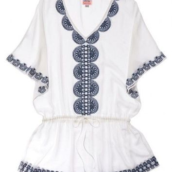 Embroidered Tunic - Indigo/White