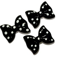 Black polka dot bow resin cabochon 27x20mm / 1-5 pieces