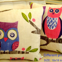 Decorative linen owl 18x18 pillow cover - Babies print deco