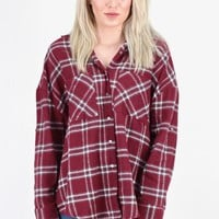 Colorful Lumberjack Flannel {Burgundy Mix} EXTENDED SIZES