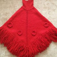 Girls ponchos,Mummy and me poncho,mum and girl,red,knitting poncho,girl poncho,woman poncho,christmas,gift,wool,winter outfit,women outfit
