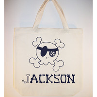 Fun Pirate Skull Tote Goody Favor Library Gift Bags by Whimsybags