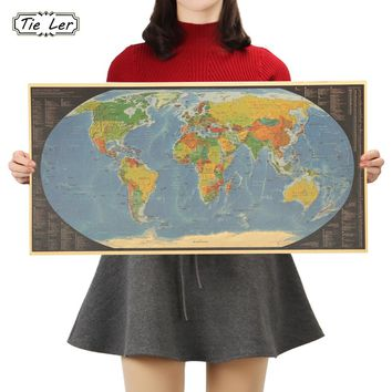 TIE LER Color Version of World Map Posters Kraft Paper Cafe Bar Poster Retro Poster Wall Sticker 72X36.5cm
