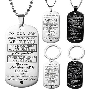 01d780d3d7 Dog Tags Pendant Necklace Family Jewelry To My Son Daughter We Love You  Love Dad Mom