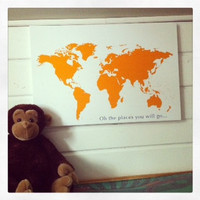 Maps, Personalized Wall Decor, Nursery Room Art, Map on Canvas, kids room decor, Modern Kids Room