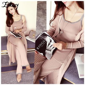 High-end New 2017 Spring Knitting Women Suits European Fashion Knitted Vest+Long Cardigan+Long Pants Trousers 3 Pieces Set Lady