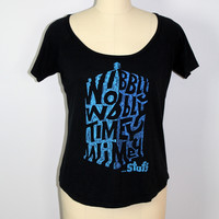 "Dr Who Womens T-Shirt Tee ""Wobbly Wobbly Timey Wimey"" Large USA"