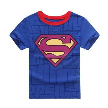 2017 Summer New Spiderman Superman Baby Kids Boys 100% Cotton Short Sleeve T-shirt Tees Tops 2-7Y