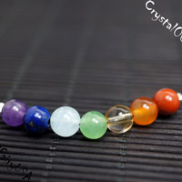 6mm 7 chakra stone necklace, multi color gemstone bar yoga crystal healingnecklace