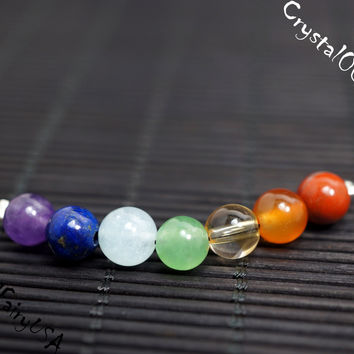 6mm 7 CHAKRA STONE NECKALCE MULTI COLOR GEMSTONE CHAKRA ACTIVATOR NECKLACE