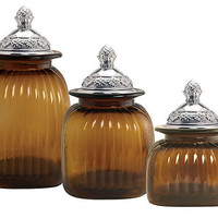 One Kings Lane - Kitchen & More - Set of 3 Pineapple Canisters, Amber
