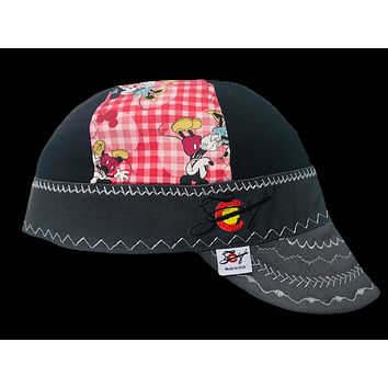 Checkered Mickey & Minnie Mouse Limited Edition Mixed Panel Embroidered Hybrid Welding Cap