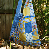 Yellow and Blue Provence Hobo Bag - Vintage Provence and Lovely Blue Linen Shoulder Bag