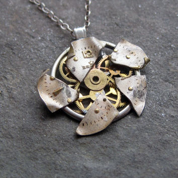 """Watch Face Pendant """"Tattered"""" Deconstructed Reconstructed Watch Parts Necklace Recycled Upcycled Gear Art Steampunk by A Mechanical Mind"""