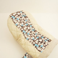 Oven Mitts pot holder- floral on brown