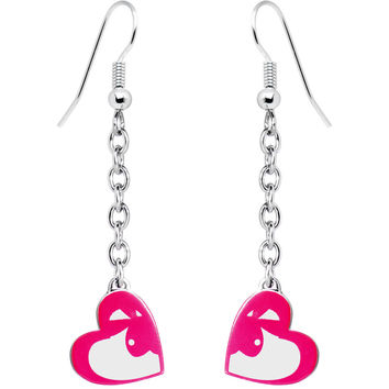 Playboy Bunny Pink Heart Drop Earrings