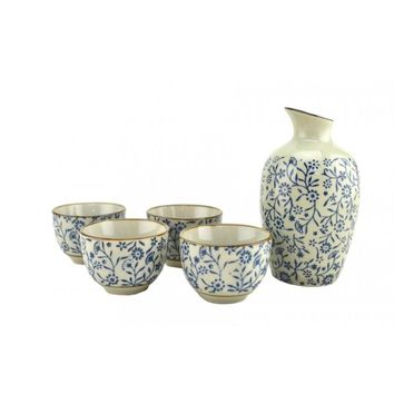 Beautiful Floral Ceramic Glaze Traditional Japanese Sake Gift Set