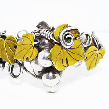 Rare Sterling Silver Grapes Cuff Bracelet -  Bernice I Goodspeed STERLING 925, Marked B Eagle Mark 1- Brass Leaves- Vintage 1940's 1950's