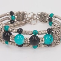 Handmade Ethnic Style Turquoise Color Beaded Bangle with Feather Charm Pendant Joint- 3 Rows Mutilcolor Beads H0527