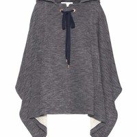 Cotton and wool-blend poncho