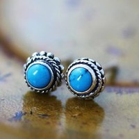 Sterling Silver Turquoise Earrings, Antique Classic Tiny Circle Stud Earrings