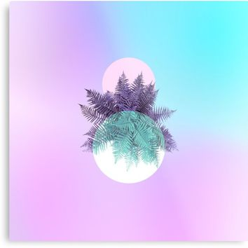 'Tropical Moon fern - Neon Candy aqua and violet' Metal Print by Dominiquevari