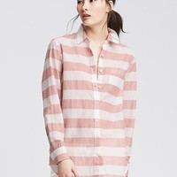Banana Republic Womens Soft Wash Striped Boyfriend Shirt