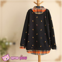 [3 Colors M-4XL] Mori Girl Style Fake 2 Pieces Grids Shirt SP151662 from SpreePicky