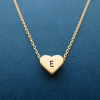 Personalized, Initial, Cute, Heart, Gold Necklace