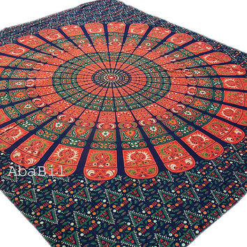 Queen Size Indian Flowers Printed Indian Mandala Hippie Throw Cotton Bohemian Bedspread tapestry Bedcover Coverlet Home Decorative Art
