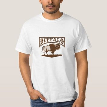 Buffalo American Bison Side Woodcut T-Shirt